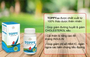 toppy giúp hạ đường huyết, gairm cholesterol,,..