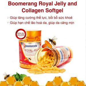 Boomerang Royal Jelly Collagen Softgel cung cấp dưỡng chất, tăng cường hệ miễn dịch.