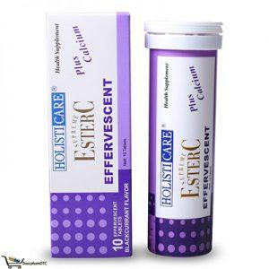 Holisticare Super Ester C Effervescent Blackcurrant Flavour Plus Calcium