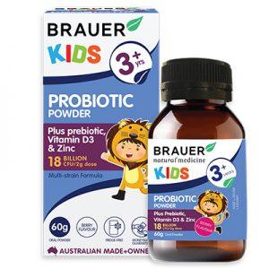 Brauer Kids Probiotic Powder 60g hỗ trợ sức khỏe tiêu hóa